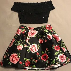 Floral homecoming dress, 2 piece